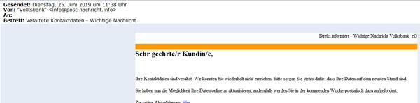 Beispiel einer Phishing-Mail gefälschter Banken-Newsletter zur Online-Datenaktualisierung