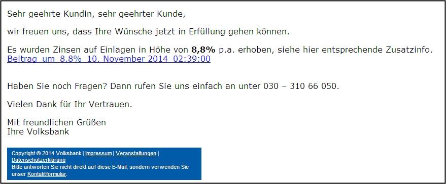 Beispiel für Phishingmail mit hohen Zinsen