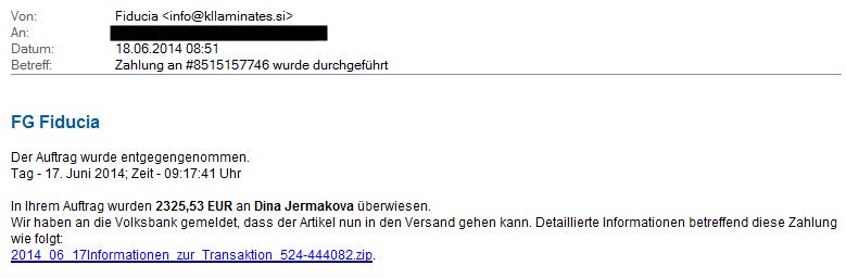 Beispiel Phishingmail mit Bestellbestätigung
