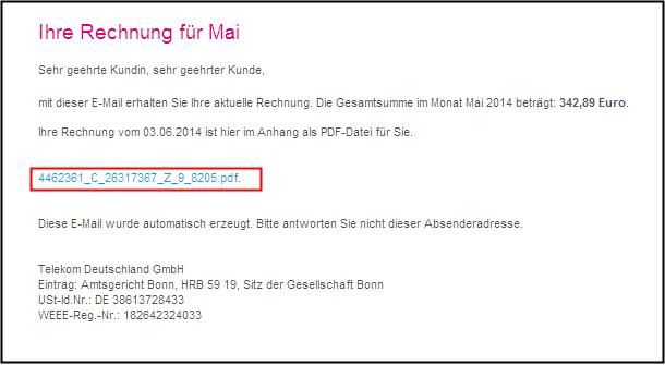 Beispiel für eine Telekom-Phishing-Mail