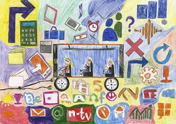 Siegerbild auf Landesebene: Wir fahren durch das Handyuniversum