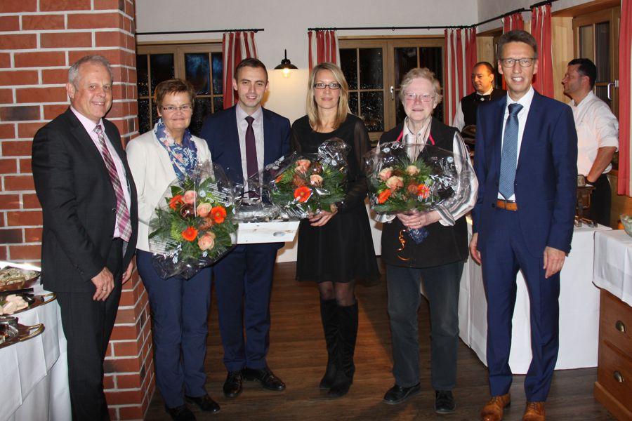 Ehrung Margarete Seeger, Iris Maintok, Florian Buob und Nicole Klumpp